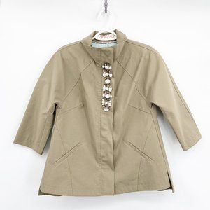 Lela Rose Tan Zip Jacket Marbled Stone Detail